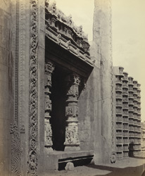 Madura. Trimul Naik's Portico. Unfinished base of gateway at east side